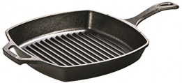 Lodge L8SGP3 Pre-Seasoned Cast-Iron Square Grill Pan, 10.5-inch